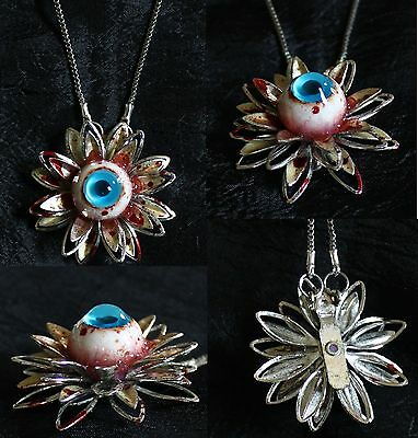 Cute Little Bloody Eyeball Flower Necklace - Punk Horror Goth Gore Funeral