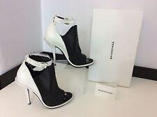 BALENCIAGA White & Black Leather Peep Toe Shoes Heels Size 39  Uk 6  Box