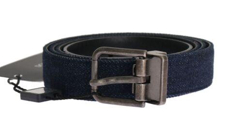 36in NEW $680 DOLCE /& GABBANA Belt Blue Cayman Leather Cotton Waist s 90cm