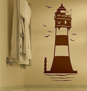 Wandtattoo leuchtturm nordsee maritim roter sand badezimmer wohnzimmer flur 6s ebay - Wandtattoo maritim ...