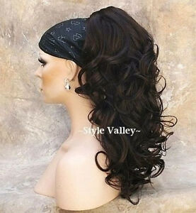 Dark Brown Ponytail Extension Hair Piece Curly Long claw Clip in on ... 9da3f8979