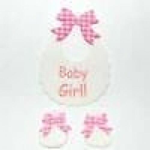 3 BABY GIRL BIBS /& BOOTIES DIE CUTS FOR CARDS OR CRAFTS