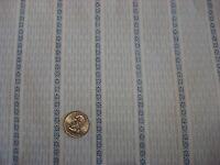 """Vintage Cotton Fabric PALE BLUE FLORAL & RECTANGLE STRIPES 1 Yd/44""""Wide"""