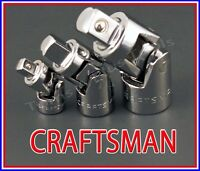 Craftsman Hand Tools 3pc 1/4 3/8 1/2 Universal Wobble Ratchet Flex Joint Set