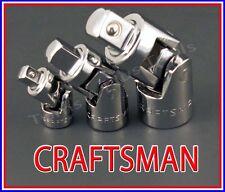 CRAFTSMAN HAND TOOLS 3pc 1/4 3/8 1/2 universal wobble ratchet flex joint set !!!