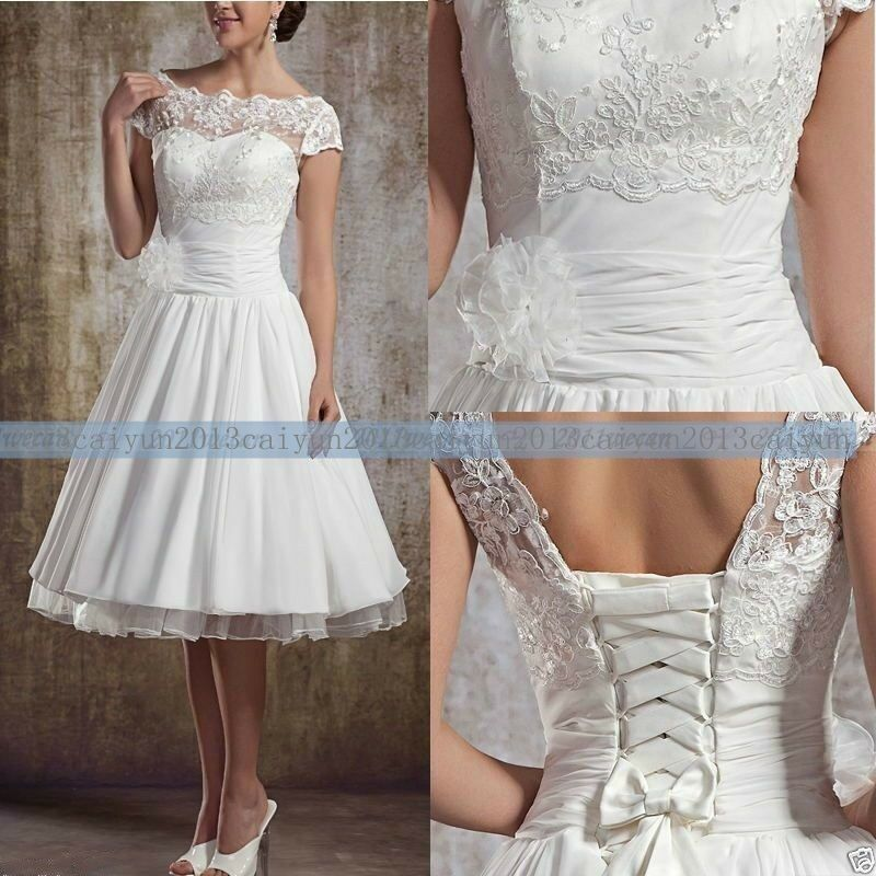 Popular White Ivory Lace Tea Length Sweetheart Wedding dress standard Size 6 -20