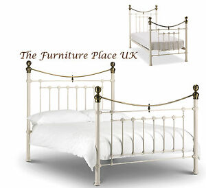 Victorian Style Metal Bed Frame In Stone White Brass Single