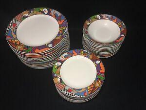 VITROMASTER-034-Metropolitan-034-Art-Deco-Plates-amp-Bowls-Red-Green-Blue-Yellow-Purple