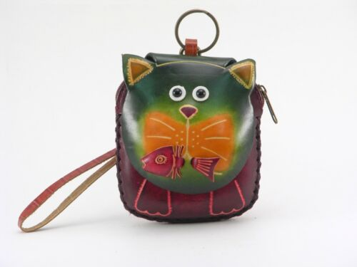 Handmade Leather Green cat with fish Wristlet  Coin Purse wallet