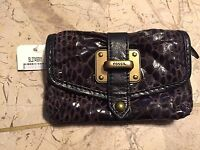 Fossil Flap Pleated Leather Mini Wallet Card Holder Clutch Snakeskin Sl2745