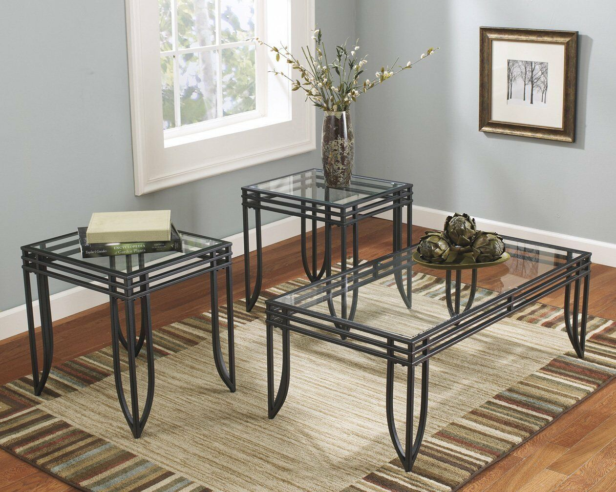 Details about New Glass Top High Gloss Coffee Table & End Table Set 3 Pc  Living Room Furniture