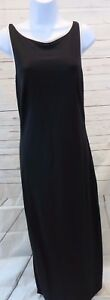 Ann-Taylor-Dress-Sz-8-Sleeveless-Black-Sheath-Maxi-Scoop-Neck-EUC