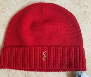 Image is loading POLO-RALPH-LAUREN-Beanie-Hat-Stitch-Wool-Cuffed- fc566847afd