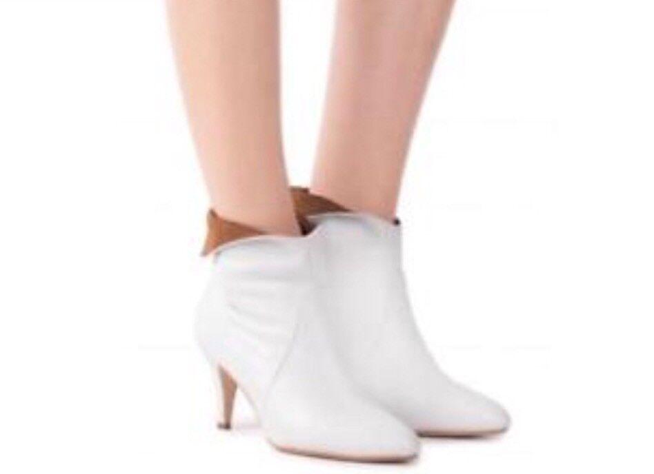 Nuevo  200 Jeffrey Jeffrey Jeffrey Campbell azulbell doblez de tobillo botas de tacón talla 10 De Cuero blancoo  ventas de salida