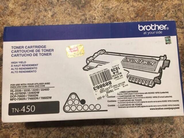 Brother Genuine OEM Black High Yield Toner Cartridge TN-450 New