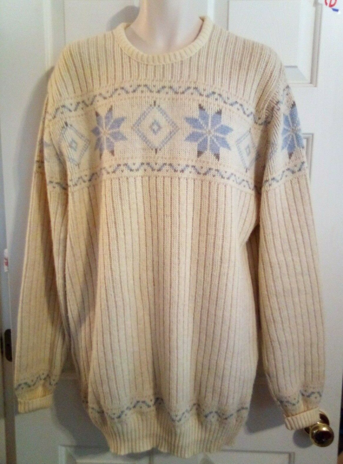 ROBERT BRUCE Mens 2XLT Snowflake Pattern Ivory bluee Wool Blend Sweater ILGWU USA