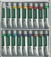 Gouache Paints 18 Tube Paint Set W/ 3 Sable Mix Brushes Free Shipping