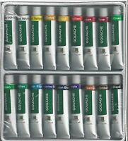 Gouache Paints 18 Tube Paint Set W/ Three White Nylon Brushes