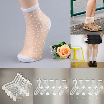 Women Ultrathin Transparent Crystal Silk Lace Elastic Short Dance Glass Socks DB