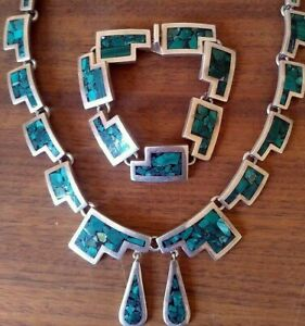 VINTAGE-TAXCO-TV-38-MEXICAN-STERLING-SILVER-925-SET-NECKLACE-BRACELET-EARRINGS