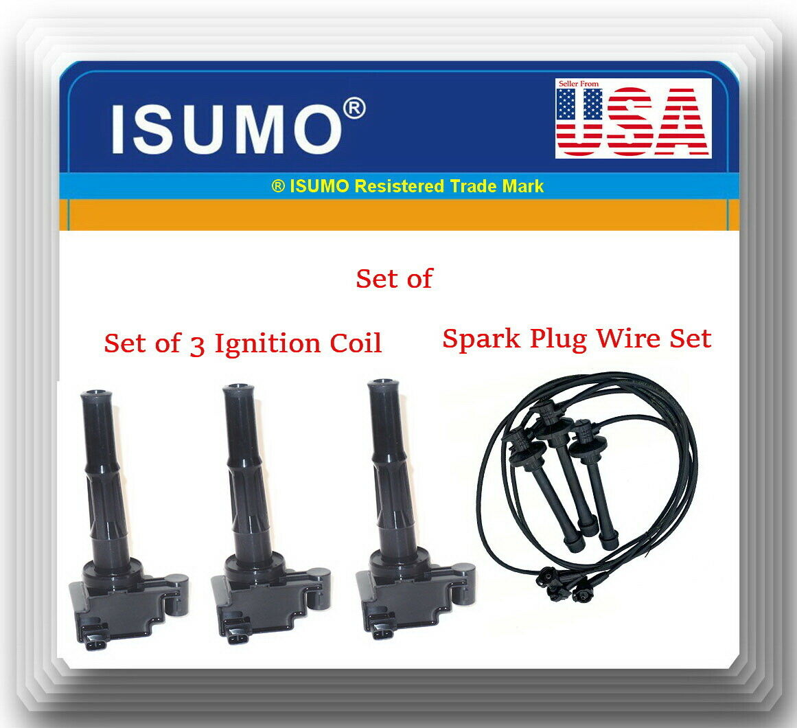Set of Ignition Coil /& Spark Plug Wire set Fits 4Runner T100 Tacoma Tundra 3.4L