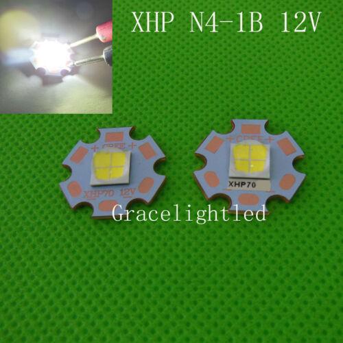 5pcs Cree XHP70 White 6500K N4-1B DC 12V 2.4A on SinkPad-II 20mm Copper Base