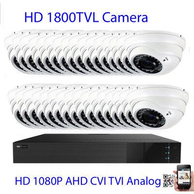 32CH 6MP 1U All-in-1 H.265 DVR 1800TVL IR Cut Bullet//Dome Security Camera System