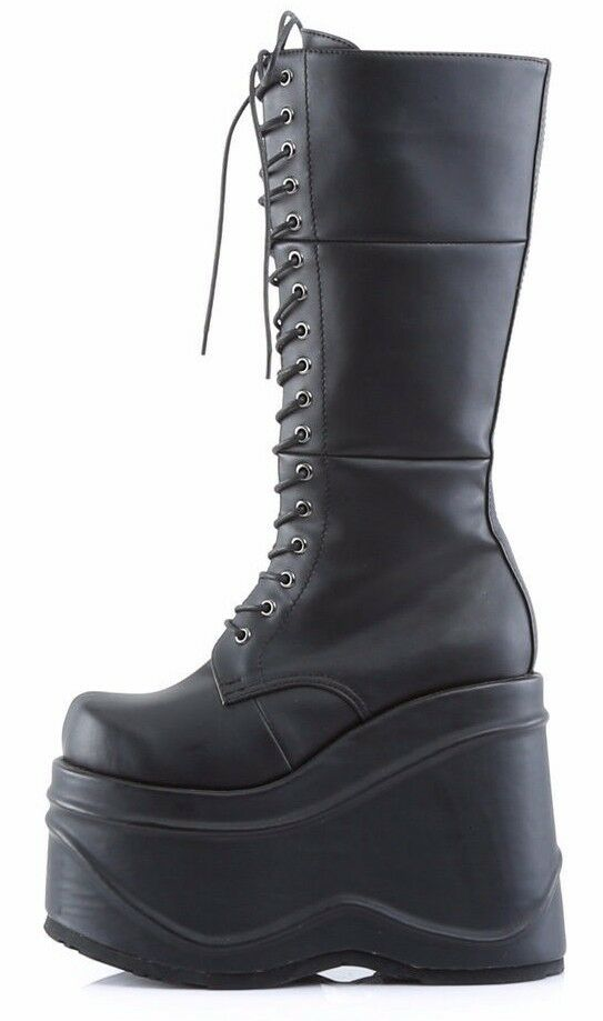 Demonia Wave 302 Black Vegan Leather 5.75  Platform Mid-Calf Goth Boot Size 9