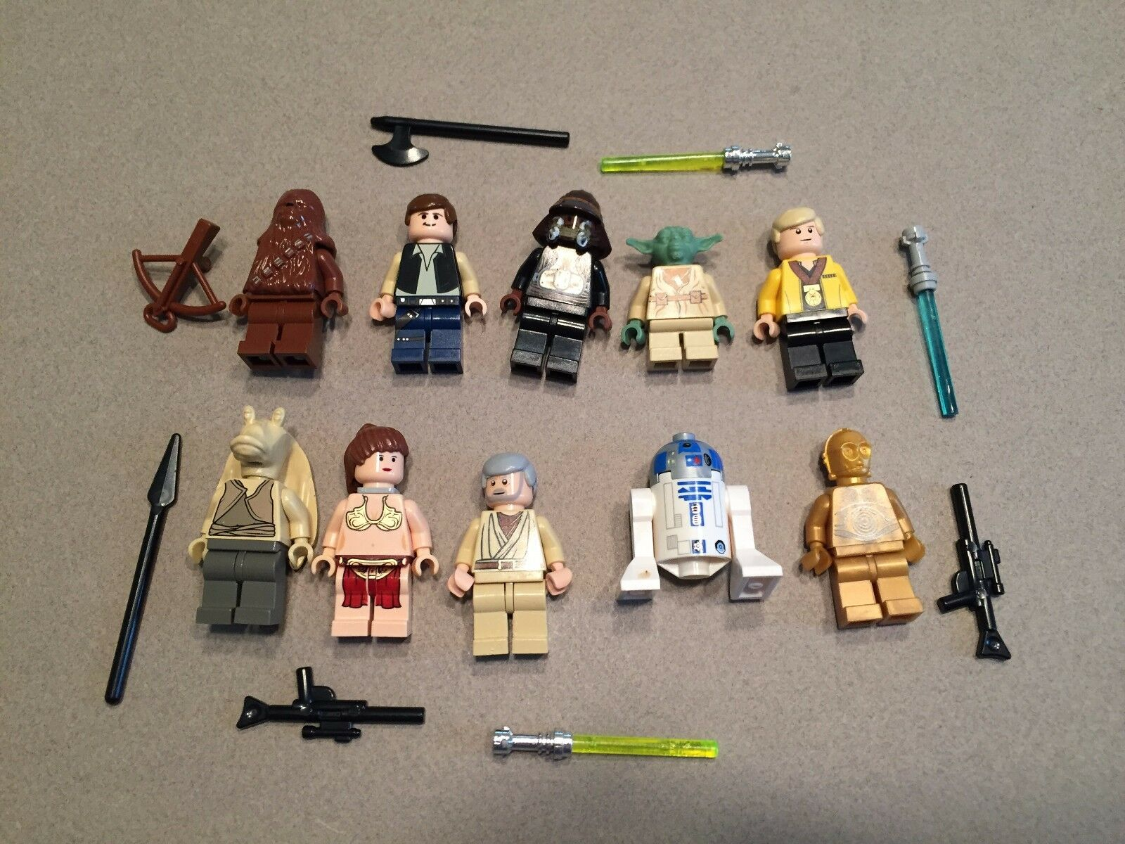 LEGO lot of 10 Star Wars Good Guy Minifigs Yoda Luke Leia Han R2-D2 Chewie G377
