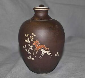 Keramik-Vase-Arno-Kiechle-Ritzdekor-Rehe-50er-Jahre