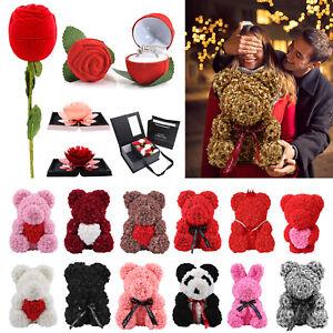 Girlfriend-Rose-Flowers-Teddy-Bear-Wedding-Valentine-039-s-Day-Gifts-Box-Ring-Box