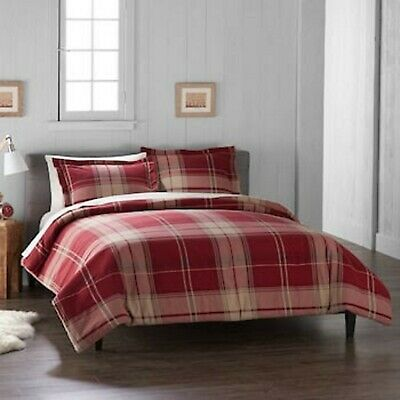 Cuddl Duds Home Red Plaid Duvet Cover