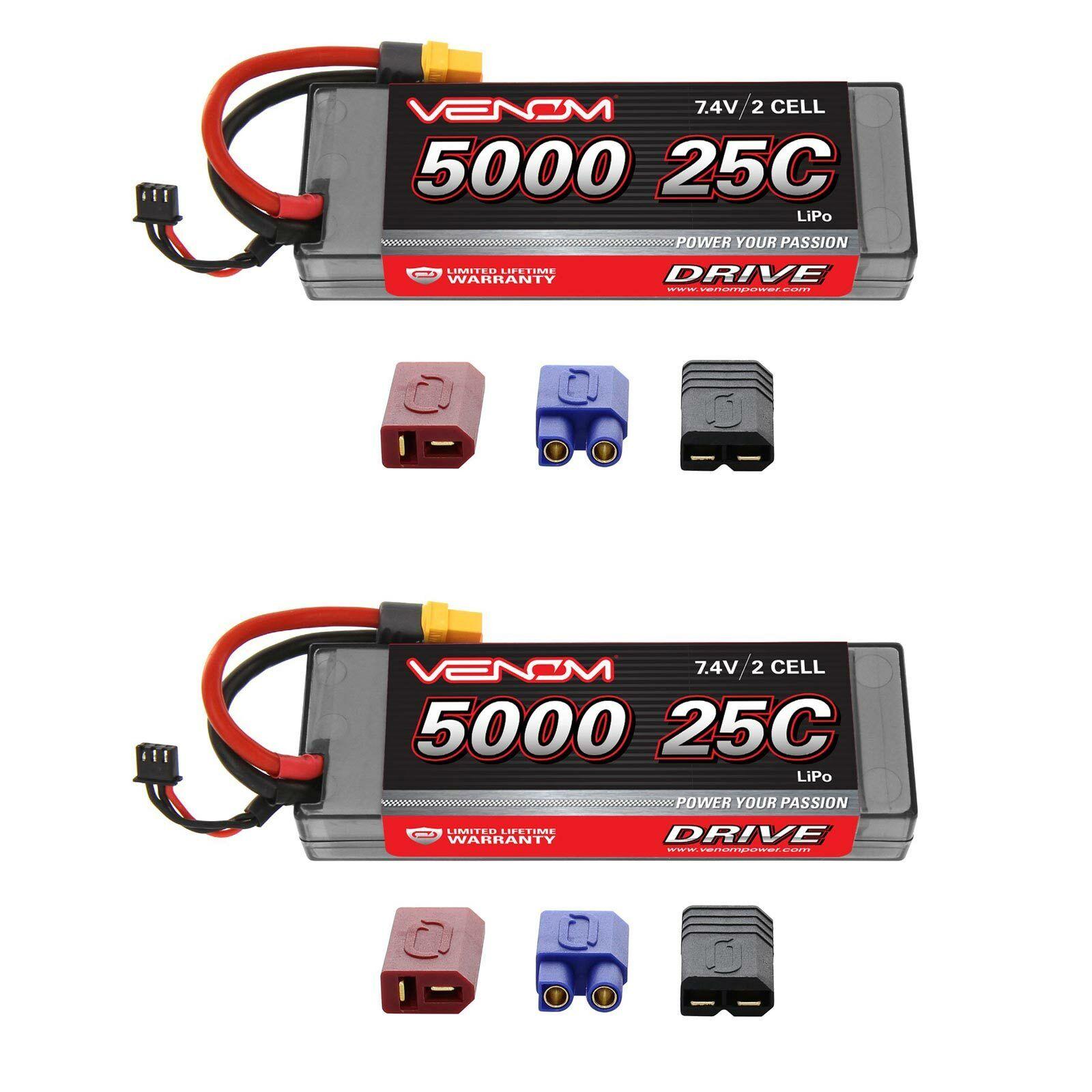 Venom 25C 2S 5000mAh 7.4V Estuche Duro Batería Lipo con sistema de enchufe Uni paquetes x2