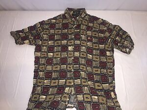MENS CROFT & BARROW MULTI COLOR RED BROWN BUTTON DOWN SHIRT RAYON SIZE L