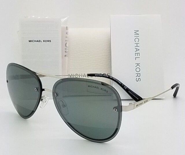 e98cdab849a7 New Michael Kors sunglasses MK1026 11181Y Silver Gunmetal Mirror Aviator  GENUINE