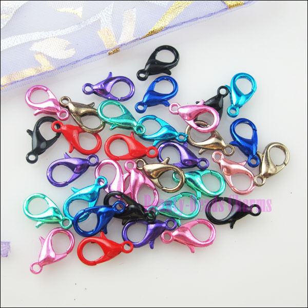 40Pcs New Connectors Lobster Clasps 9Colors-1 Or Mixed For Craft DIY 7x12mm