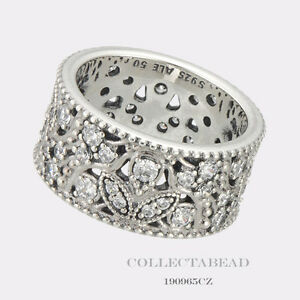 4a4f898c4 Image is loading Authentic-Pandora-Silver-Shimmering-Leaves-Clear-CZ-Ring-