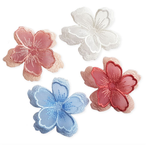 Doble capa 3D Cherry Blossom Hierro Coser En Apliques Bordados Parches Hazlo tú mismo