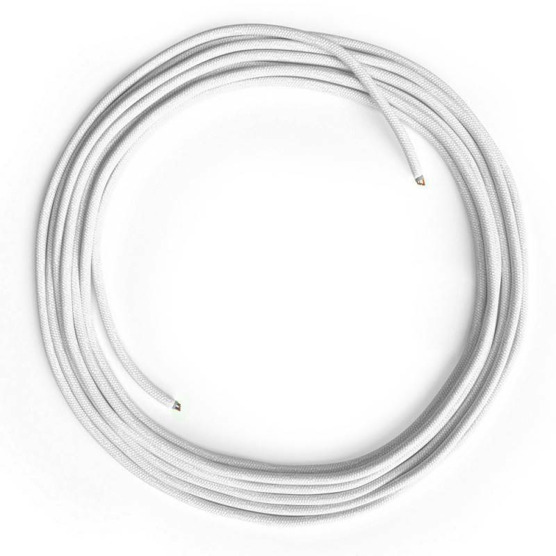 LAN Ethernet Cable Cat 5e without RJ45 plugs - Cotton Fabric RC01 White [Cable L