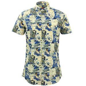super popular 3ed8c 3d3a1 Dettagli su Camicia da Uomo Loud Originals Tailored Fit Gatti Blu Rétro  Psichedelico
