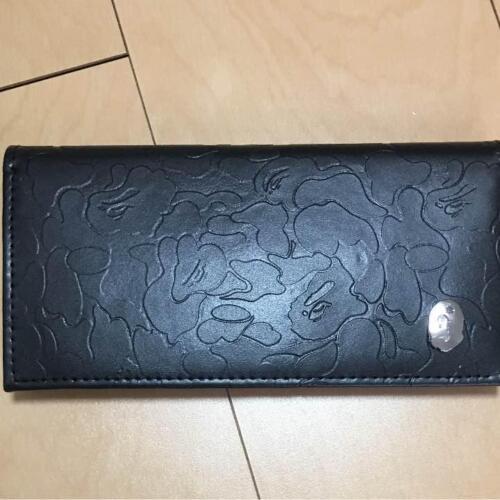A BATHING APE BAPE CAMO Leather Long Wallet Black smart Special Appendix JAPAN