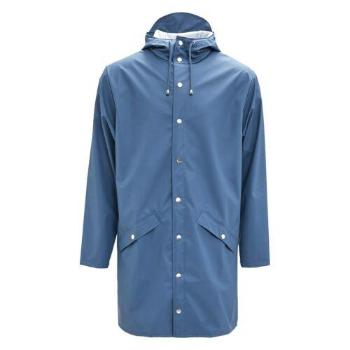 Rains Unisex 1202 Long Jacket Straight Faded Blue Size S//M