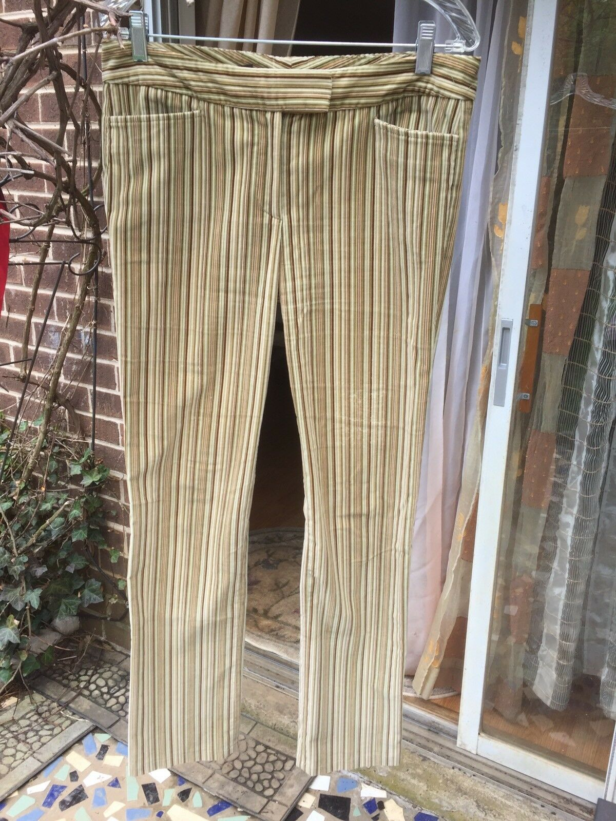 Lgold PIANA multi color striped velour sz.44 women's trousers pants