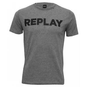 Replay-Bold-Logo-Crew-Neck-Men-039-s-T-Shirt-Grey-Melange