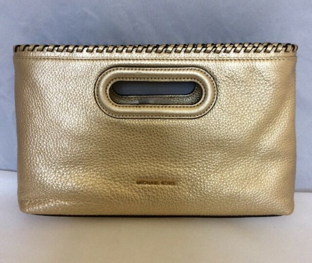 NEW W TAGS AUTHENTIC MICHAEL KORS LEATHER Rosalie GOLD Clutch Crossbody Handbag