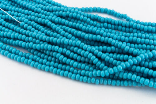 11//0 Opaque Blue Turquoise Czech Seed Bead #CSG034 10 Gm, Hank, 1//2 Kilo