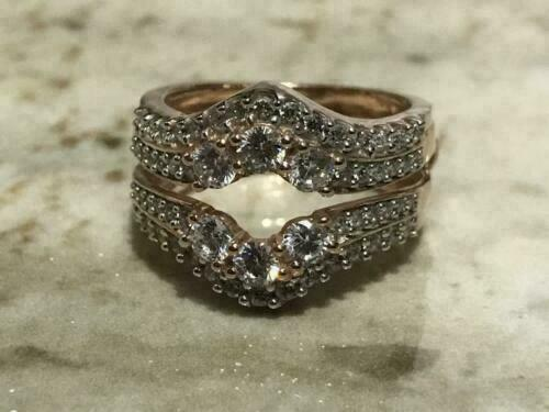 Details about  /1.09Carat Round Cut Gorgeous Diamond Ladies 14K White Gold Over Enhancer Ring