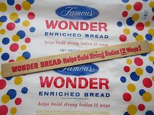 American Wonder Bread bread advertising waxed paper unused & wooden ruler .