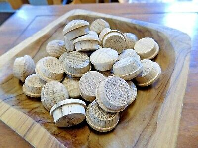 20 Oak Dome Round Top Plugs End Grain Wood Wooden Tapered Dowel Furniture 12mm