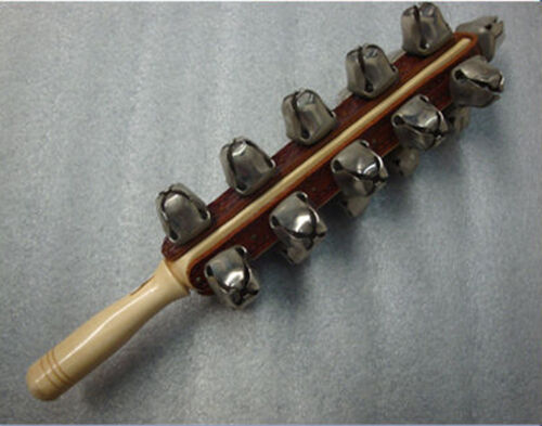 Schlittenglocken mit 21 Schellen auf Edelholzstab